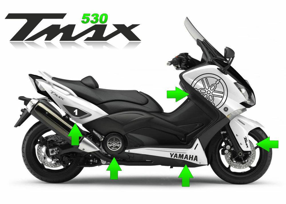 Yamaha Tmax 530 scooter decal kits available. Many colors available