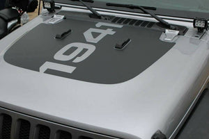 Jeep wrangler 1941 hood blkout decal kit. Many colors available.