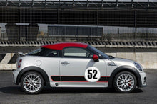 Load image into Gallery viewer, Mini Cooper gumball number plate and rocker racing stripe 3 color combo Side Decal kit