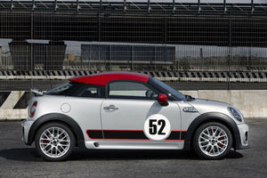 Mini Cooper gumball number plate and rocker racing stripe 3 color combo Side Decal kit