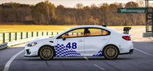 Load image into Gallery viewer, subaru wrx custom checkored flag w/number Plate side decal design kit set.