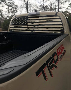 toyota tacoma rear window american flag distressed and regular design offered