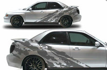 Load image into Gallery viewer, Subaru wrx sti shreaded side bode decal design kits available. In many colors