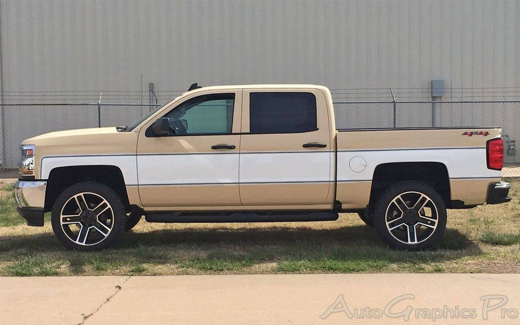 Chevy Silverado GMC Sierra custom retro stripe full truck decal kit.