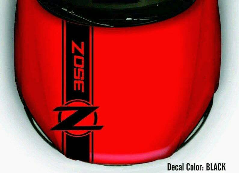 Nissan 350z 370z fairlady hood stripe decal kit. Many colors available