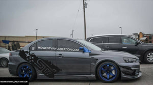 Subaru wrx sti side body rear decal set kits available in many colors.
