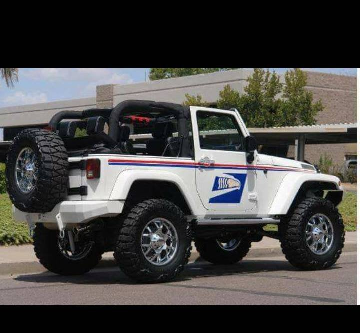 Jeep 2 door postal kit lft rt side red/ blue stripe set and 2 door postal bird logo and also large hood blkout blue bird logo to match sides