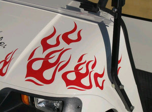 Golf cart clubman ezgo flame decal set