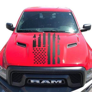 Distressed flag hood decal for all truck models and years.many colors available