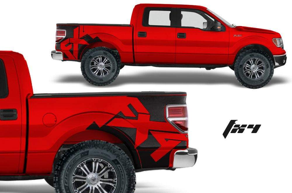 Ford f series trucks rear bed decal set kit