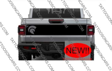 Jeep gladiator 2021 rear tailgate blkout decal set with spartan head