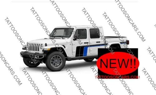 Jeep gladiator 2021 retro side stripe decal set.