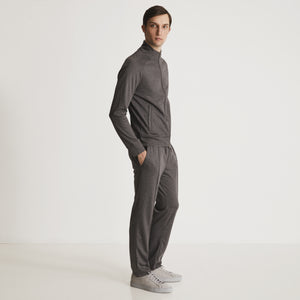 GARROS  MOCK NECK  FULL ZIP - Charcoal Heather / Grey Heather