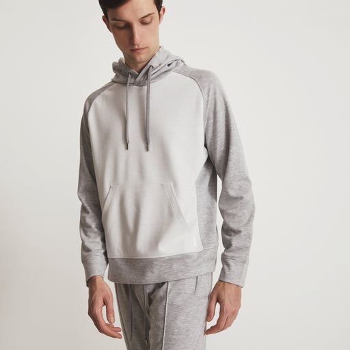 GARROS HOOD PULLOVER---Grey Heather / Off White