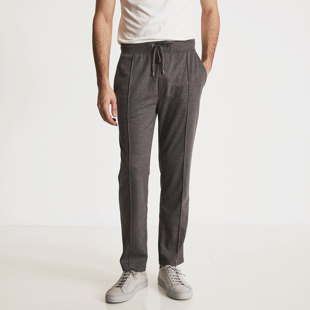 GARROS PINTUCK SLACKS---Charcoal Heather