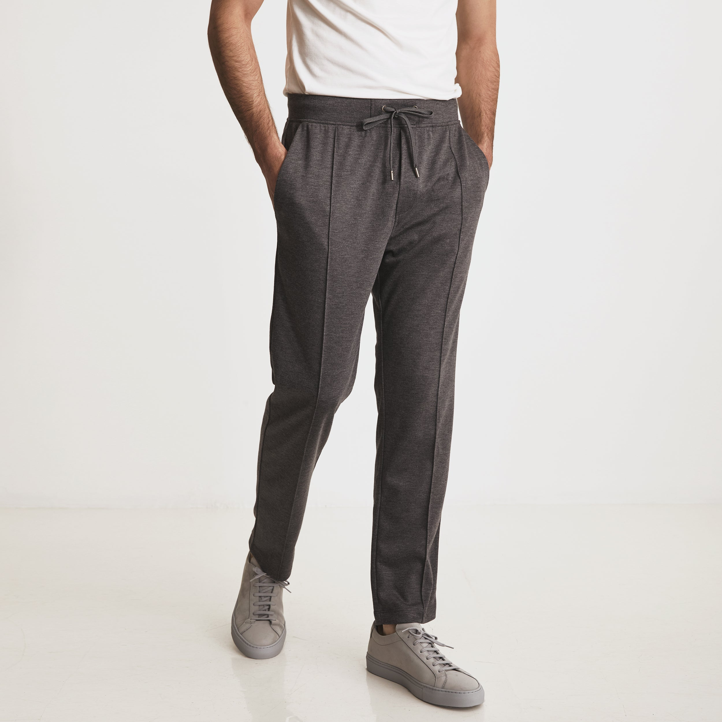 GARROS PINTUCK SLACKS - Charcoal Heather