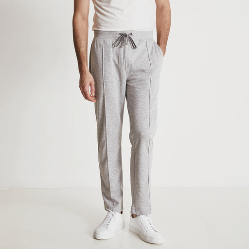 GARROS PINTUCK SLACKS---Light Grey Heather