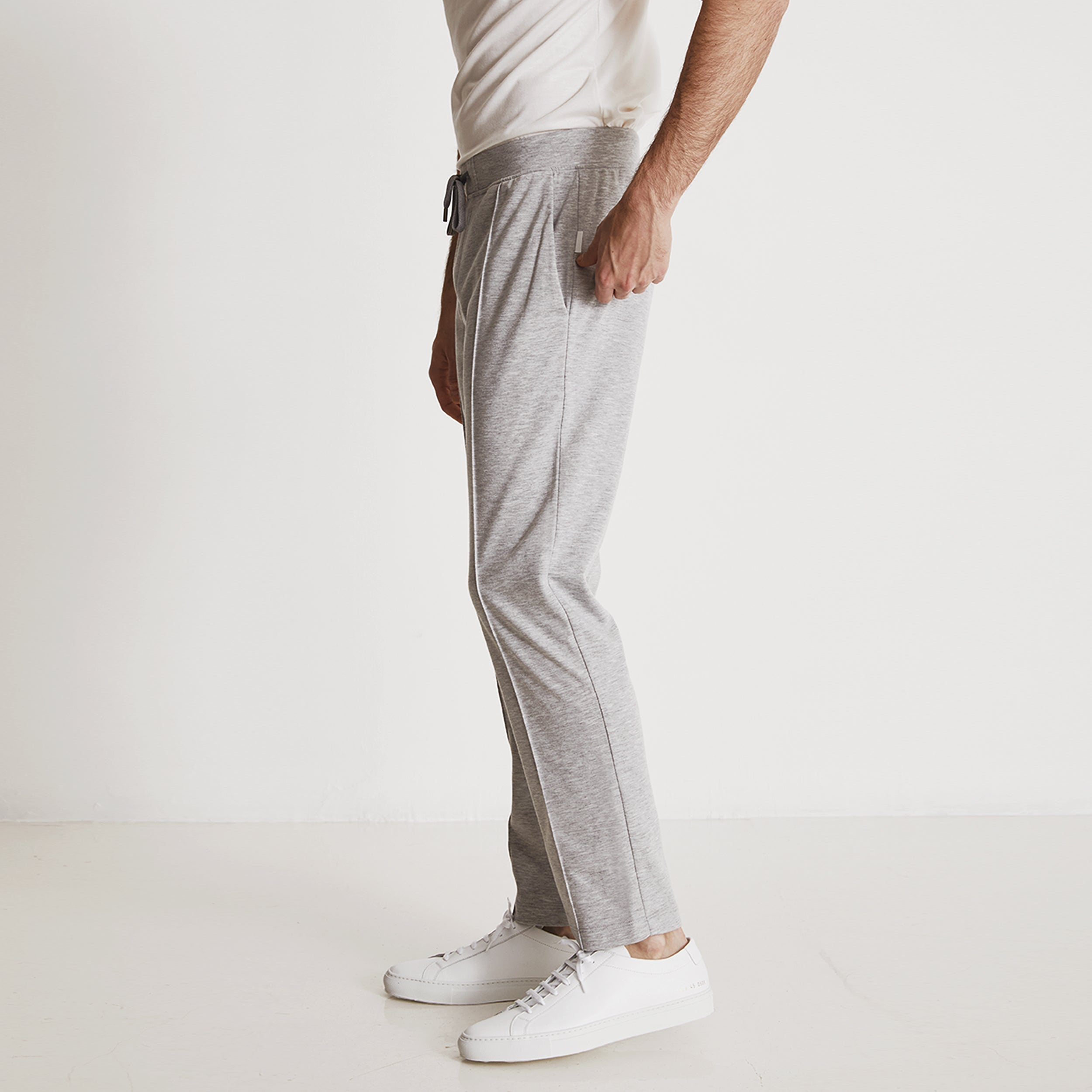 GARROS PINTUCK SLACKS - Light Grey Heather