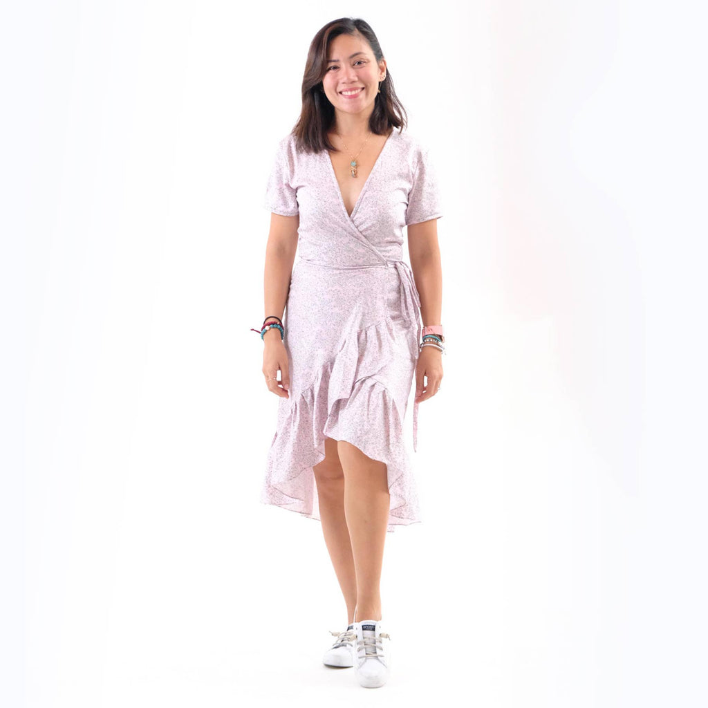 Winona Wrap Dress - Pale Pink