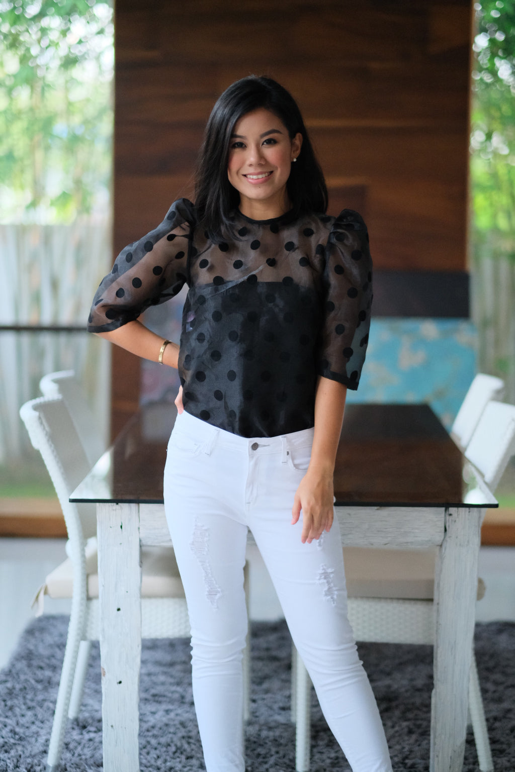 Calla Top in Black Polka