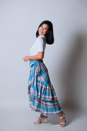 Catleya Skirt in Blue Madras Check