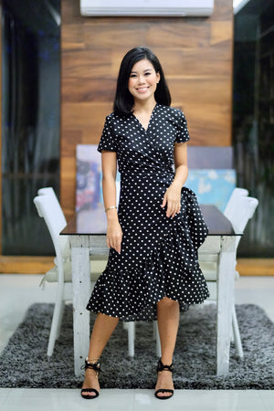 Winona Wrap Dress in Black and White Polka Dot