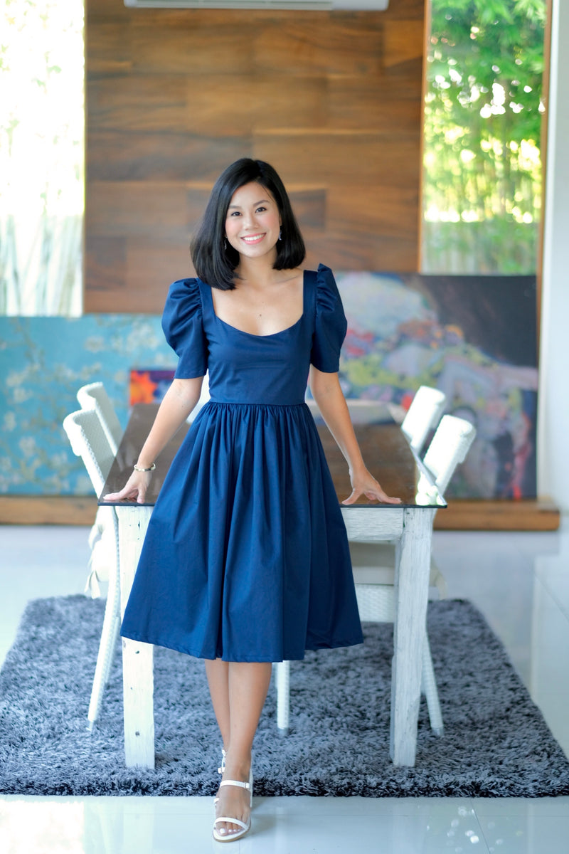 Marlowe Mid Length Dress in Midnight Blue