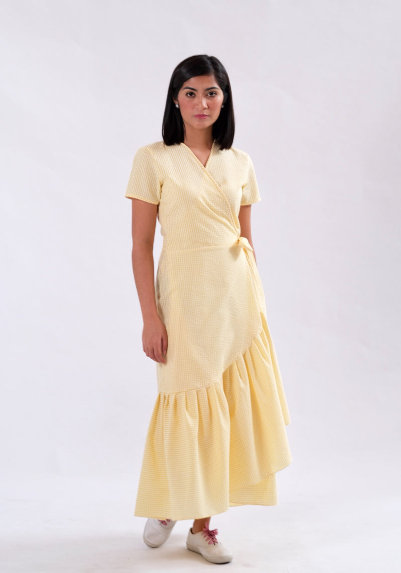 Nicole Seersucker Wrap Dress - Yellow
