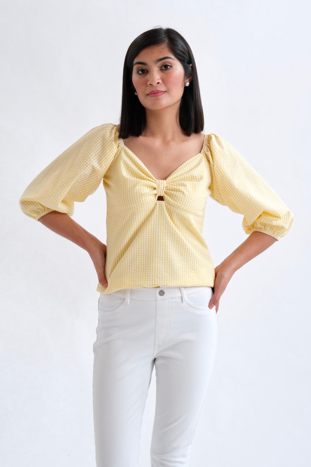 Francesca Top in Regular Length -         Light Yellow Gingham