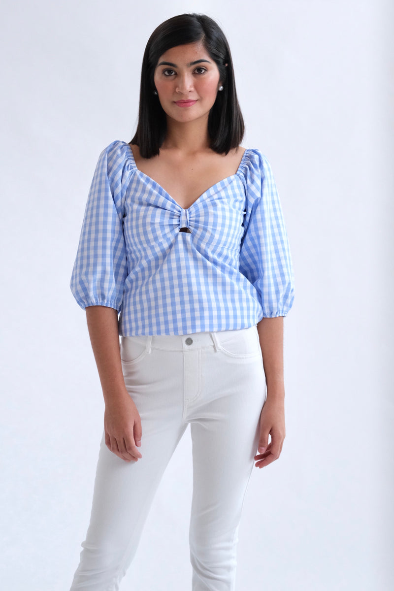 Francesca Top in Regular Length - Light Blue (Big Gingham Print)