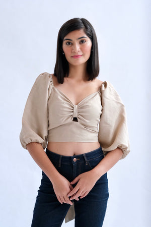 Francesca Cropped Top - Khaki Brown