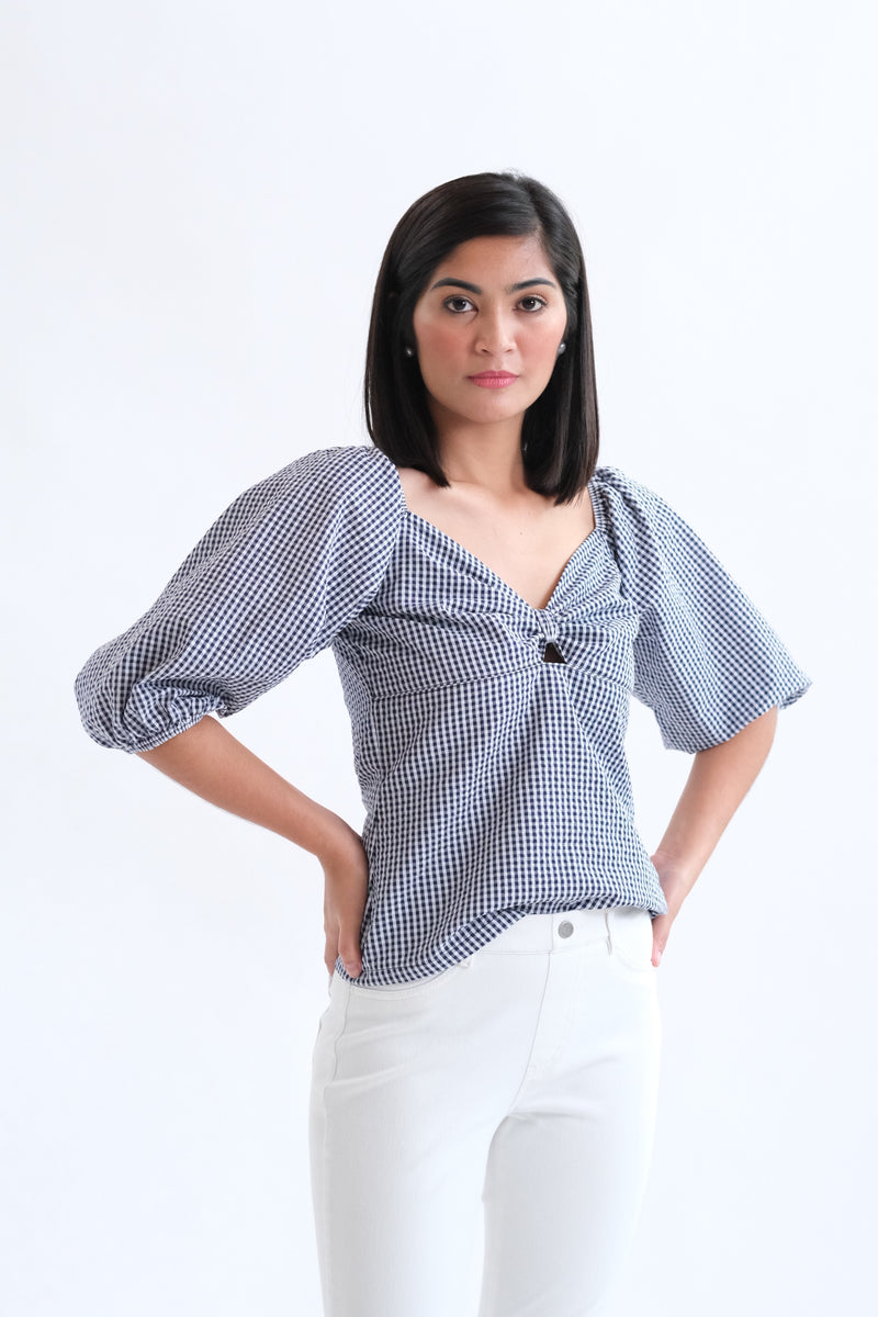 Francesca Top in Regular Length - Dark Blue Gingham