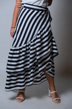 Catleya Skirt in Awning Stripes Dark Blue