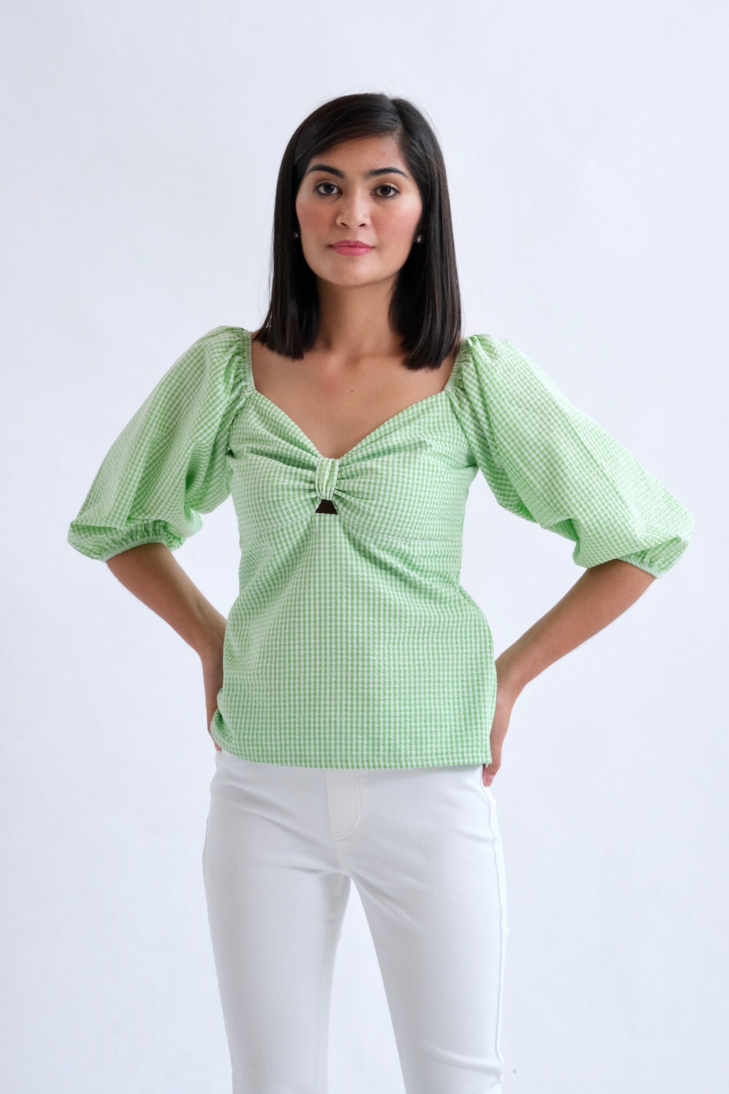 Francesca Top in Regular Length - Apple Green Gingham