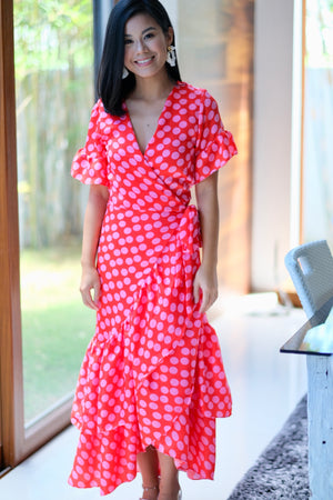 Francine Dress Pink and Red Polka