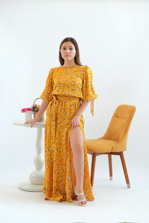 Alana Maxi Dress in Crushed Curry