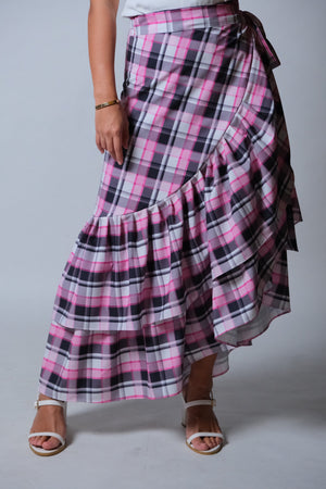 Catleya Skirt in Pink Madras Check