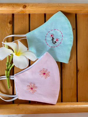 Hand Embroidered Linen Facemasks