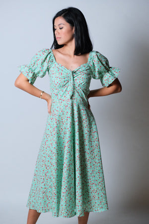 Abbey Dress in Mint Green Floral