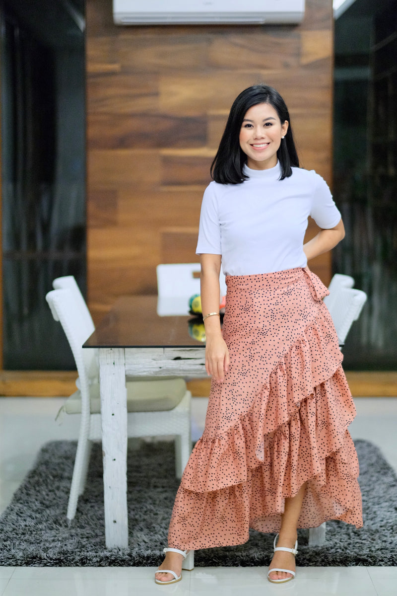 Catleya Skirt in Dark Salmon with Black Polka