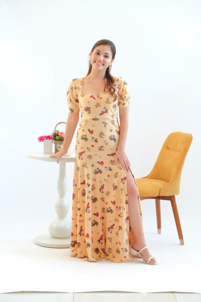 Jasmine Maxi Dress in Floral Stripes Yellow
