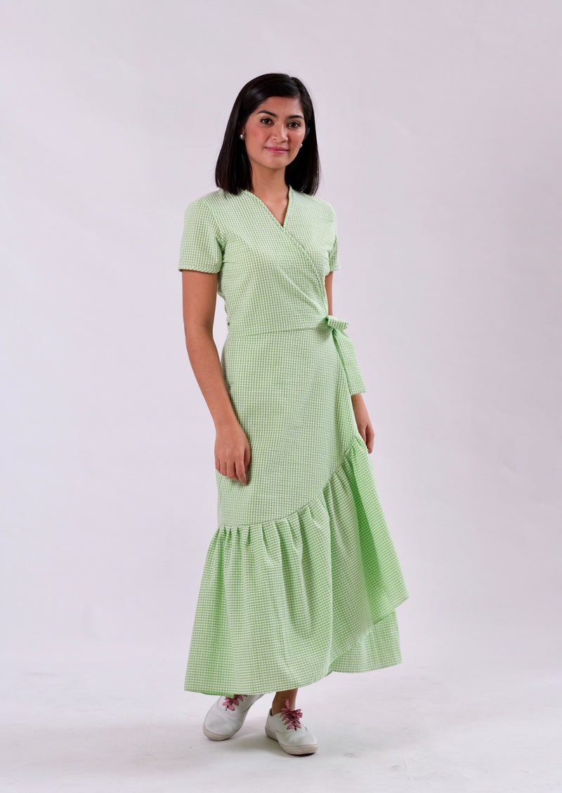 Nicole Seersucker Wrap Dress - Green
