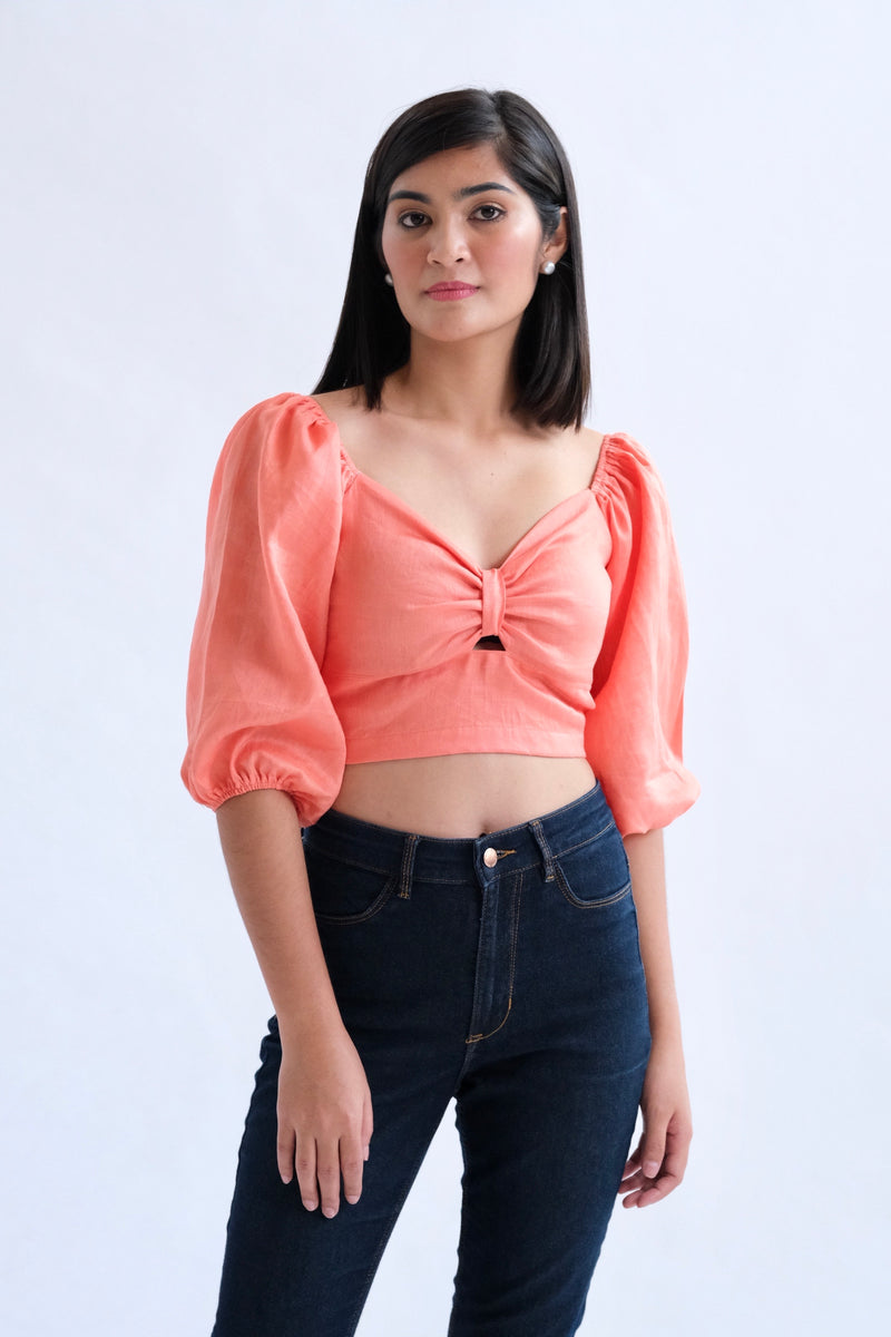 Francesca Cropped Top - Coral