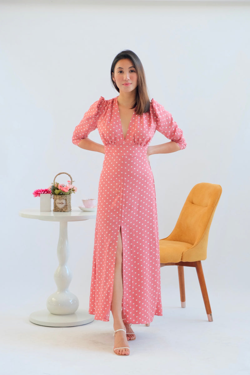 Elizabeth Maxi Dress in Blush Polka