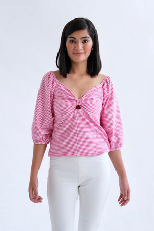 Francesca Top in Regular Length - Dark Pink Gingham