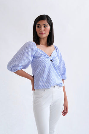 Francesca Top in Regular Length - Light Blue (Small Gingham Print)