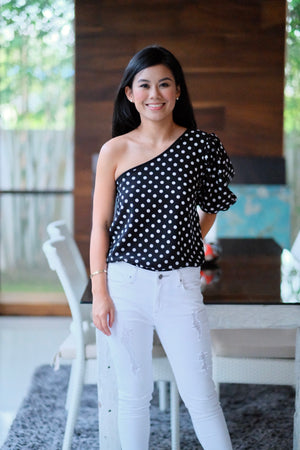 Blaire Top in Black Polka Dot