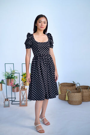Marlowe Midi in Black Polka