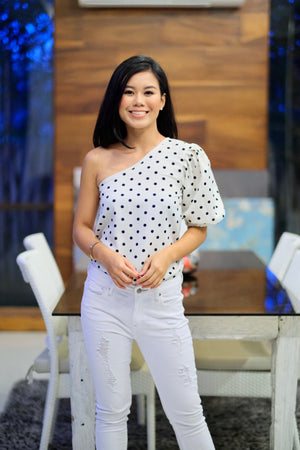 Blaire Top in White Polka Dot