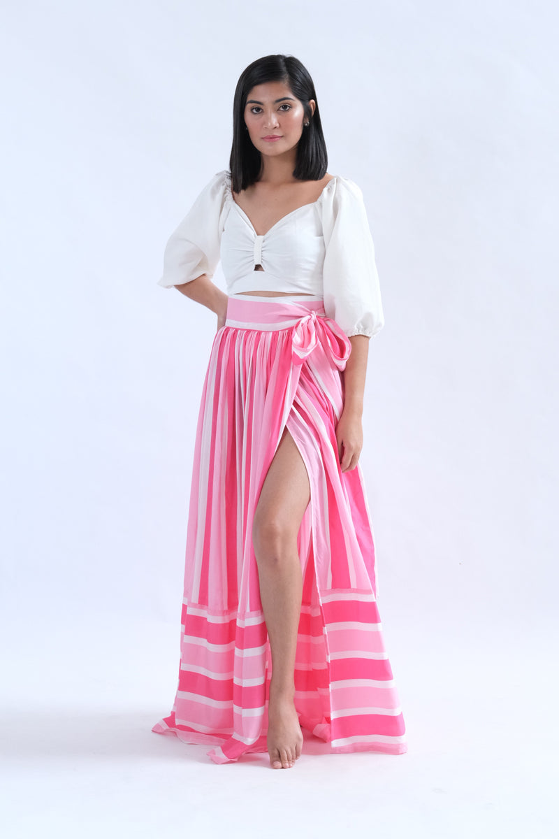 Alona Maxi Skirt in Pink Awning Stripes